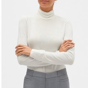 BANANA REPUBLIC LuxeSpun Turtleneck White Sz L NWT